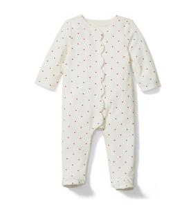 Baby Dot Velour Footed 1-Piece