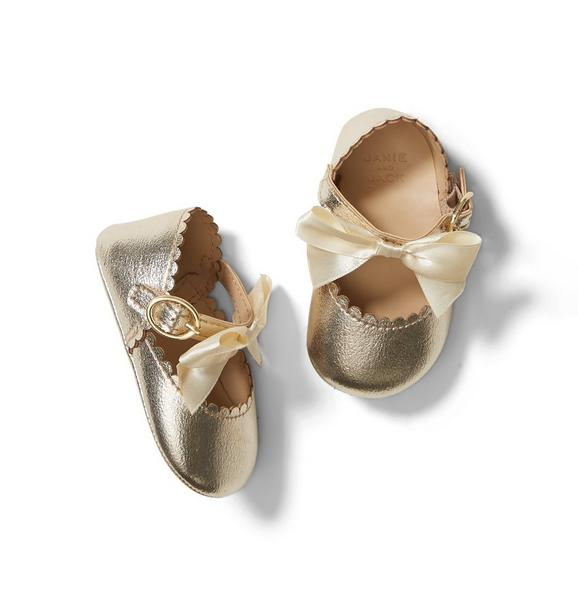 Baby Metallic Bow Crib Shoe