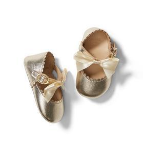 Baby Metallic Bow Crib Shoe