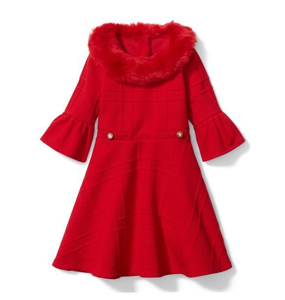 Faux Fur Collar Jacquard Dress