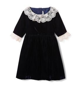 Velvet Lace Trim Dress