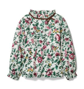 Floral Ruffle Collar Top