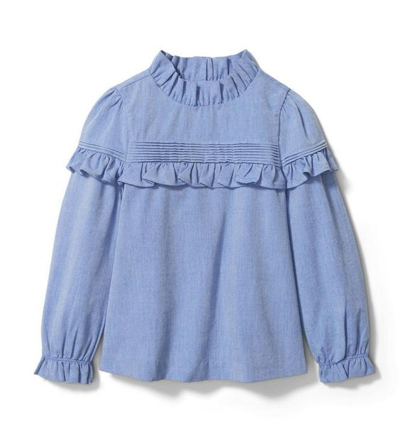 Oxford Ruffle Top