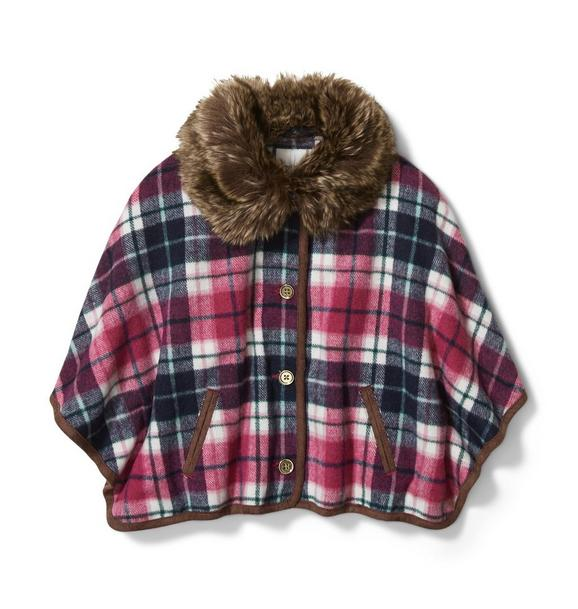 Plaid Faux Fur Collar Cape