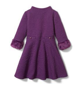 Jacquard Faux Fur Cuff Dress