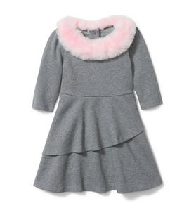 Faux Fur Collar Ponte Dress