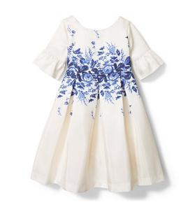 Floral Border Ruffle Sleeve Dress