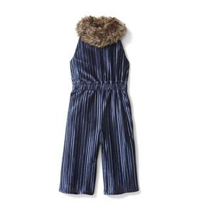 Faux Fur Collar Velvet Jumpsuit