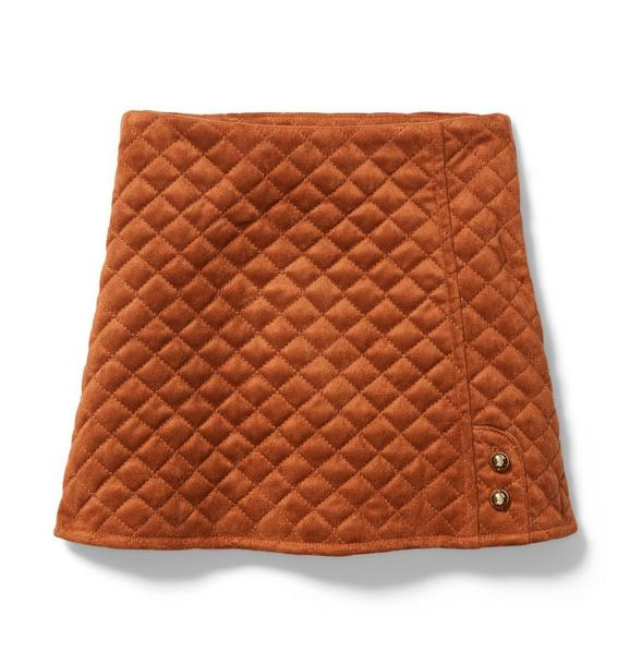 Quilted Faux Suede Skirt
