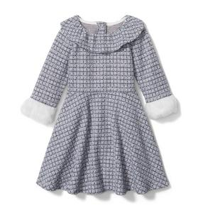 Jacquard Ruffle Collar Dress