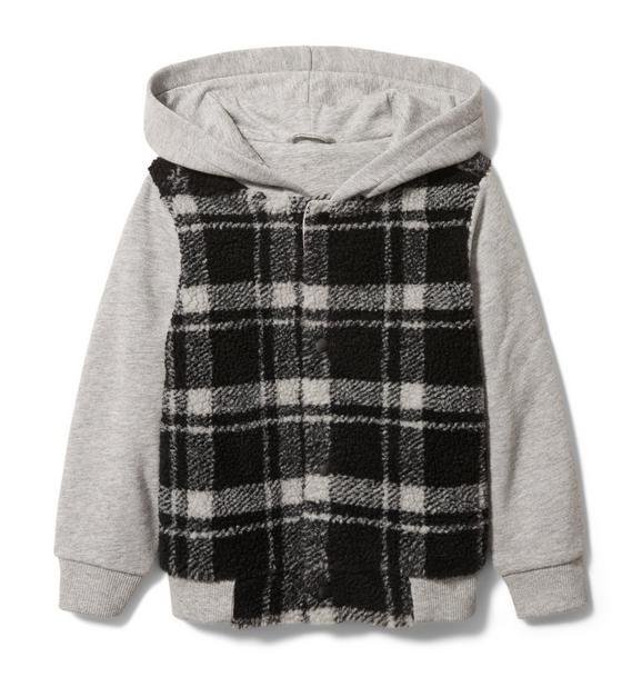 Plaid Sherpa Hooded Jacket