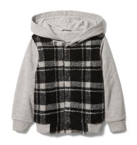 Plaid Sherpa Hooded Jacket