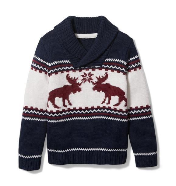 Moose Shawl Collar Sweater