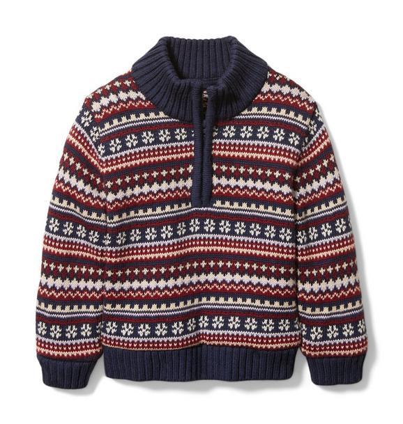 Fair Isle Half-Zip Sweater
