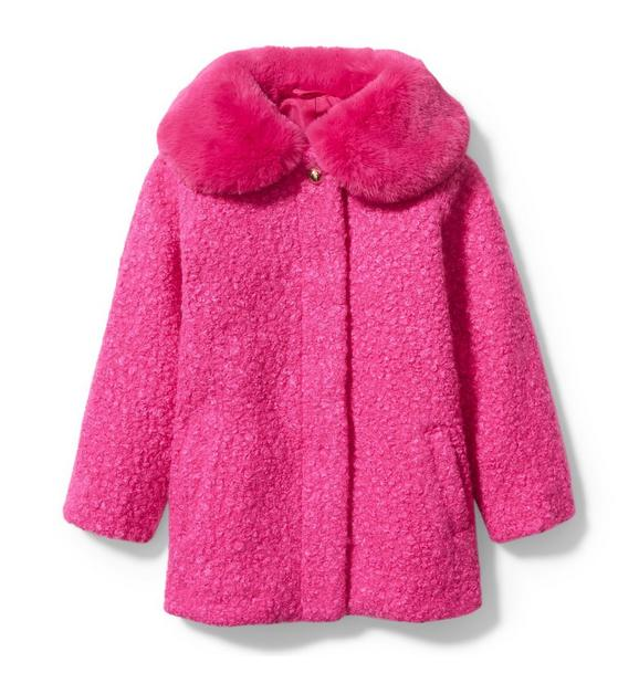 Janie and Jack Sherpa Faux Fur Collar Coat