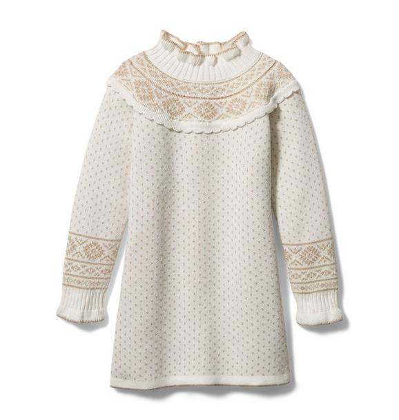 Janie and Jack Metallic Fair Isle Sweater Dress