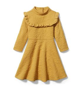 Floral Jacquard Ruffle Dress