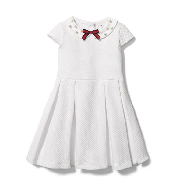 Pearl Collar Jacquard Dress