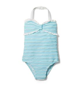 Scalloped Striped Swimsuit
