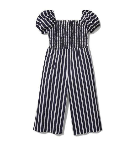 Puff Sleeve Striped Jumpsuit