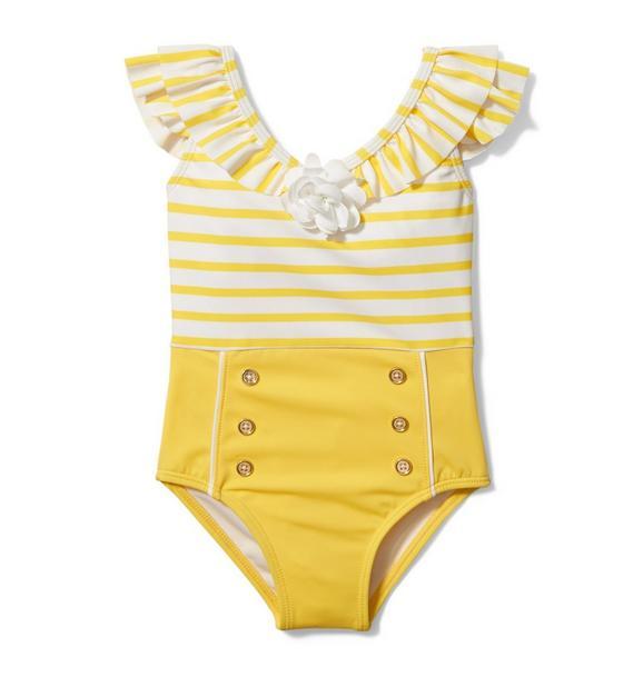 Ruffle Striped Swimsuit
