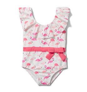 Flamingo Ruffle Collar Swimsuit