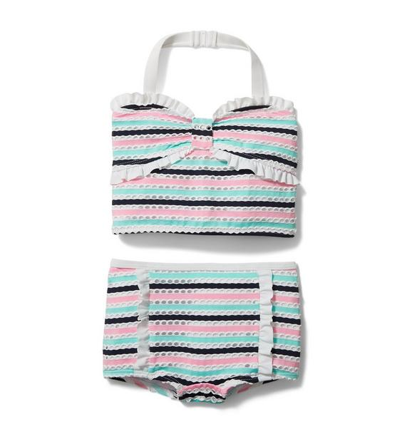 Textured Striped 2-Piece Swimsuit