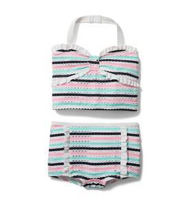 Textured Striped 2-Piece Swimsuit