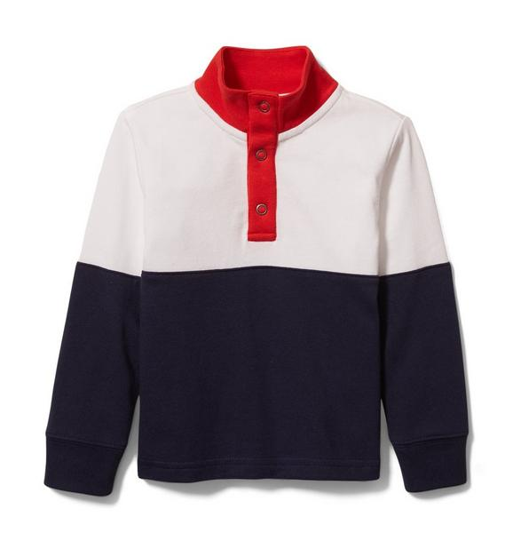 Colorblocked Mock Neck Rugby