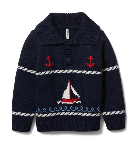 Sailboat Shawl Collar Sweater