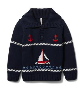 Sailboat Shawl Collar Sweatshirt