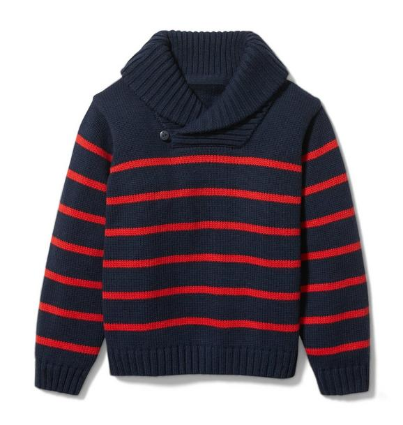 Striped Shawl Collar Sweater