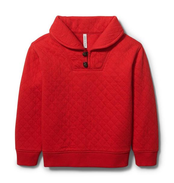 Quilted Shawl Collar Sweatshirt