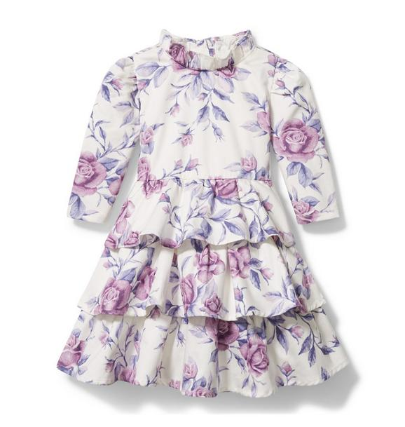 Janie and Jack Floral Satin Tiered Dress