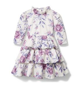 Floral Satin Tiered Dress