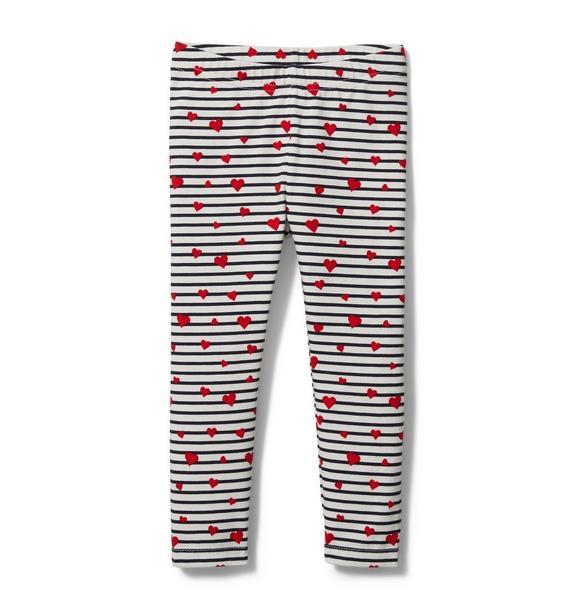 Striped Heart Print Legging