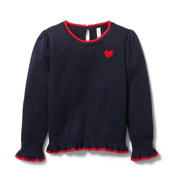 Heart Ruffle Cuff Sweater