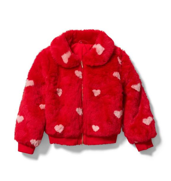 Faux Fur Heart Bomber Jacket