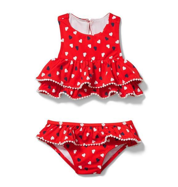 Ruffle Heart Print 2-Piece Swimsuit