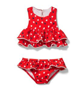 Ruffle Heart Print 2-Piece Swimsuit