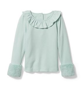 Faux Fur Cuff Ruffle Top