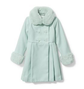 Faux Fur Collar Pleated Coat