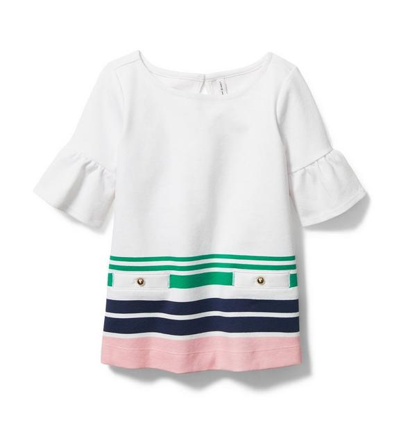 Stripe Ruffle Sleeve Top
