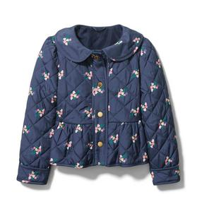 Quilted Peplum Floral Jacket