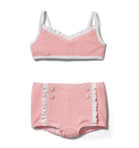 Textured Ruffle Trim 2-Piece Swimsuit