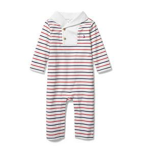 Baby Shawl Collar Striped 1-Piece