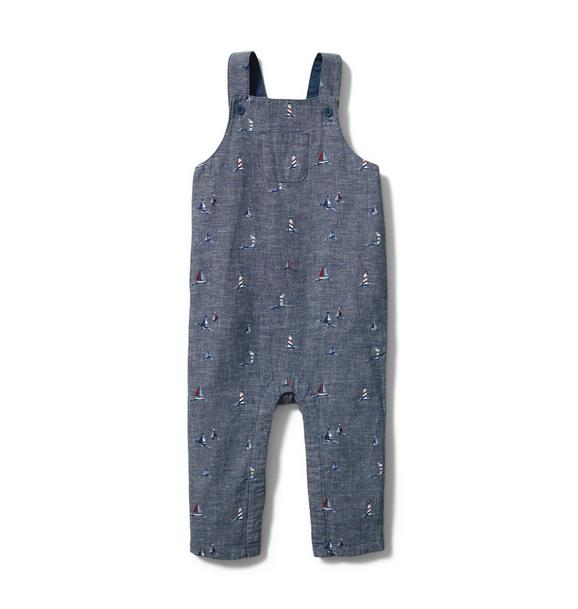 Baby Nautical Print Chambray Overall