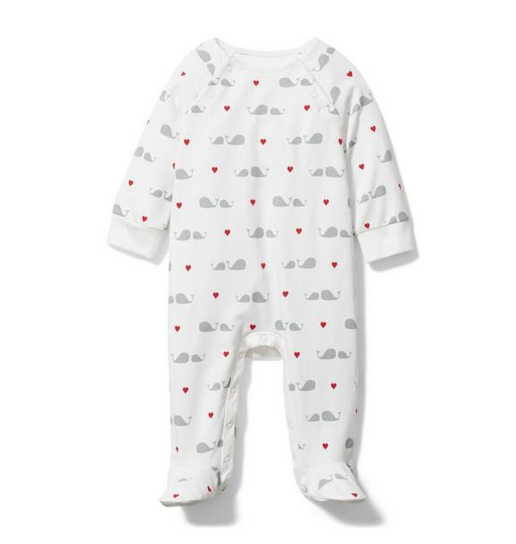 Baby Whale Heart Footed 1-Piece