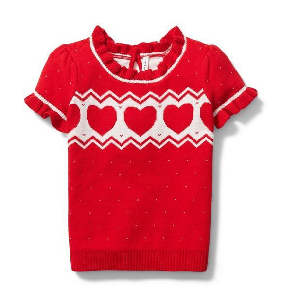 Fair Isle Heart Short Sleeve Sweater
