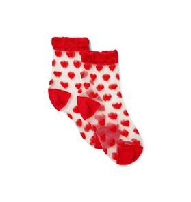 Sheer Heart Print Sock